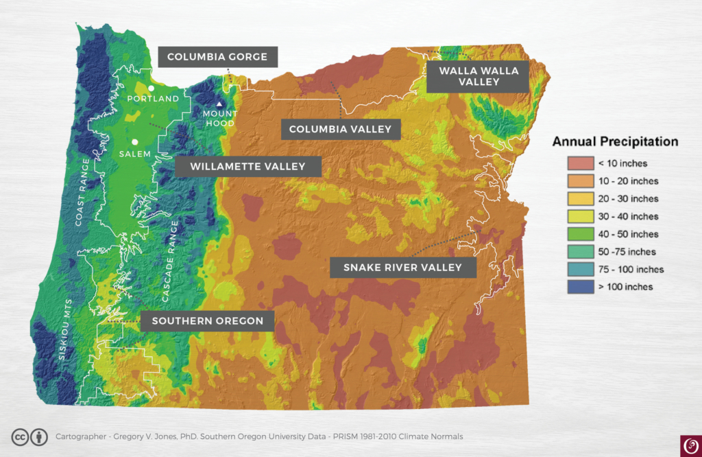 Oregon Rainfall Map