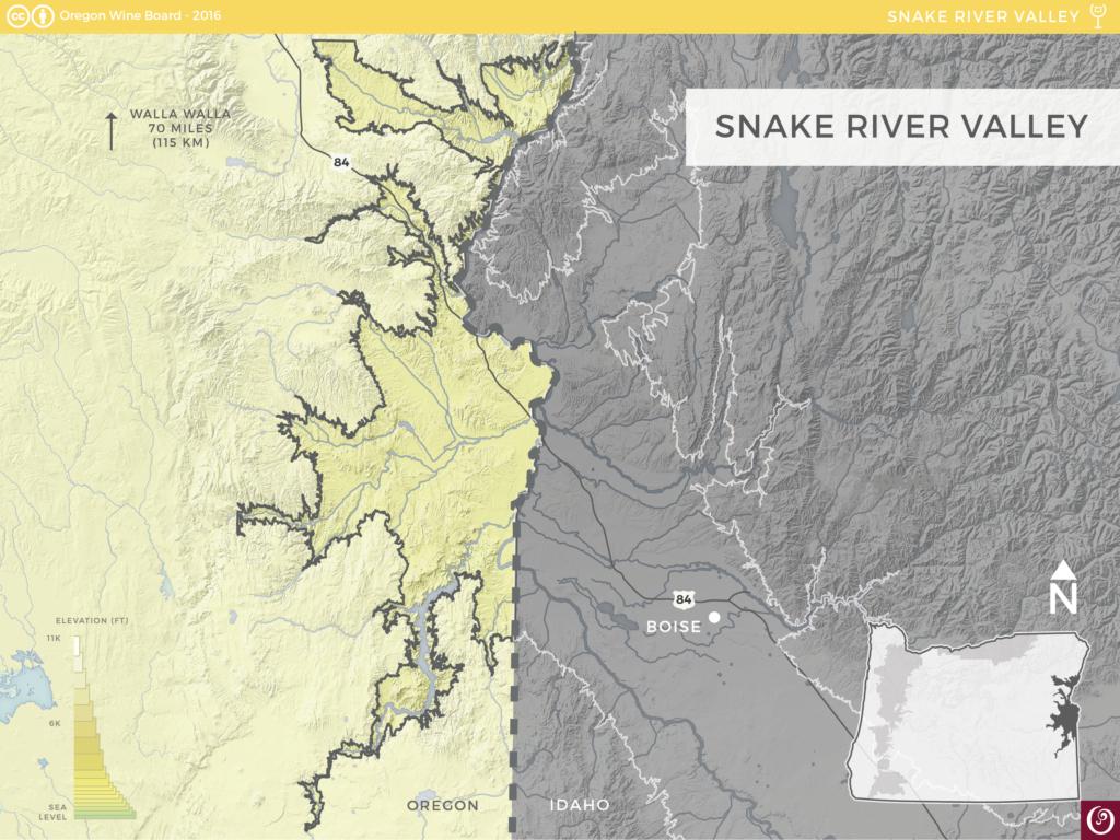 Snake River Valley AVA Oregon Wine Resource Studio - Snake river world map