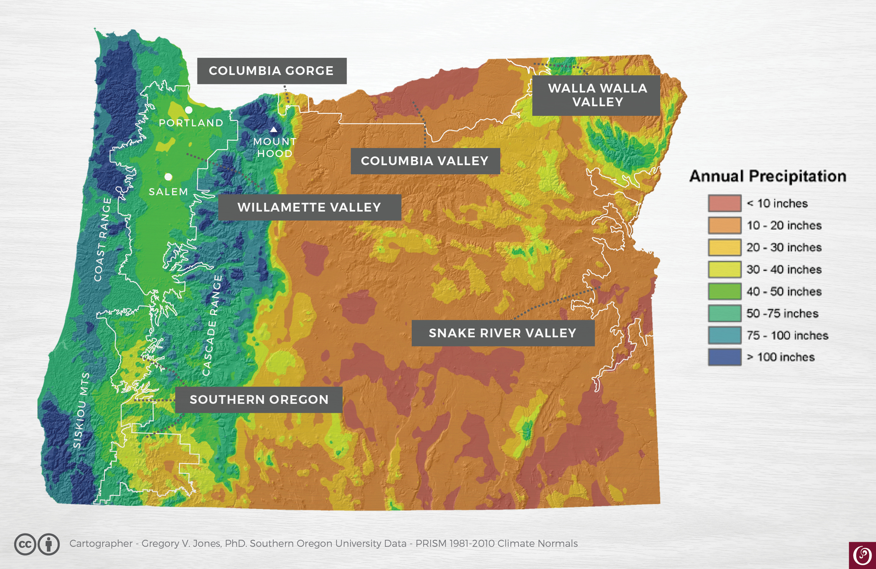 Oregon Rainfall Map Climate Oregon Wine